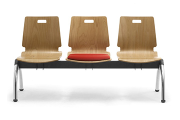 Benches with wooden shell for office lobby, entrance hall and reception  waiting area Cristallo