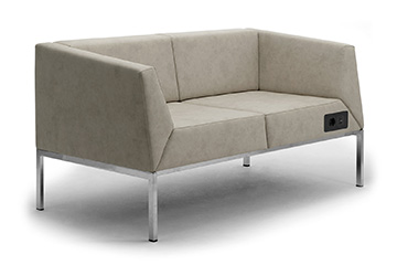 Compact design waiting sofas with USB charger for salons, shops and stores furniture KOS