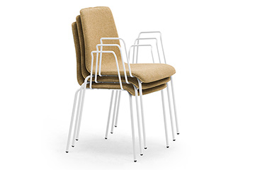 Stacking armchairs for office entrance hall, lobby, reception, and waiting area Zerosedici 4 legs