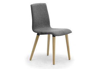 Contemporary armchairs with wooden legs for salons, shops and stores furniture Zerosedici 4 wooden legs