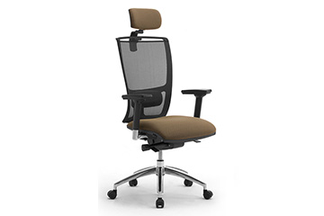 Task armchairs with breathable mesh backrest and lumbar support Cometa