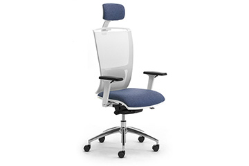 Ergonomic white mesh office seating with headrest and lumbar support  Cometa W