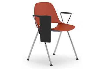Plastic monocoque stacking chairs with tip-up writing tablet Cosmo