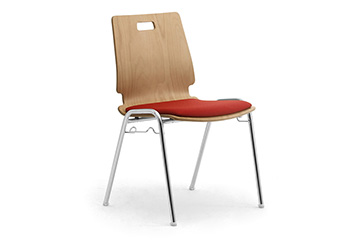 Single shell chair with linking device and padded seat Cristallo