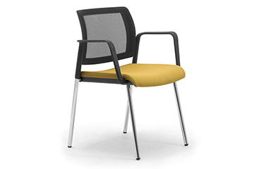 Stackable visitor armchairs with breathable mesh backrest Wiki Re 4g