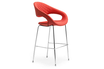 Contemporary design stools with enveloping seats + footrest for churches, cathedrals and chapels samba