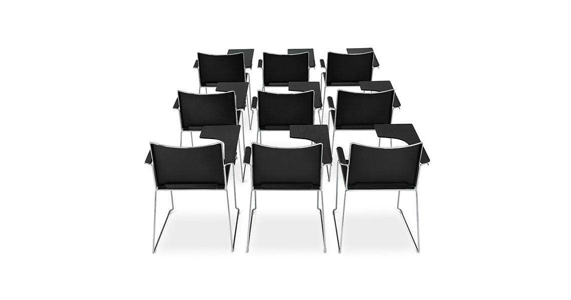 Sedie impilabili per sala corsi con ribaltina e carrello - Leyform