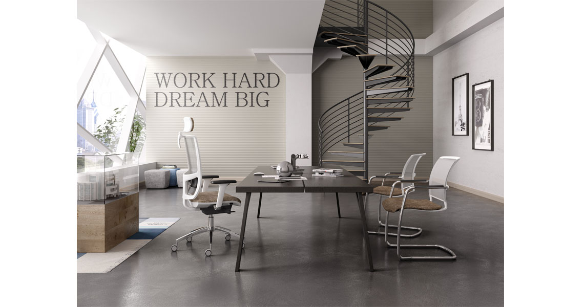 Sedia per ufficio bianca dal design modeno e minimale for Arredo ufficio bianco