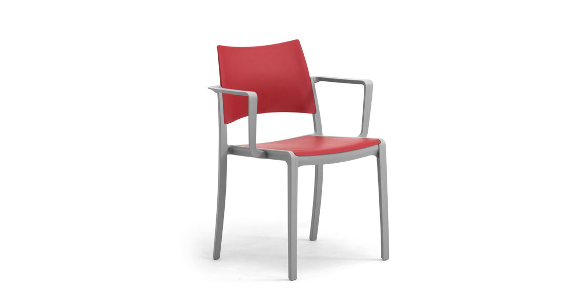 Ordinaire Stackable Plastic Chairs W Arms For Contract Staky  ...