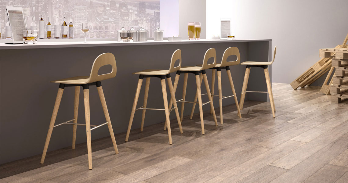 Vintage Wooden Stools For Bar And Kitchen Island Leyform